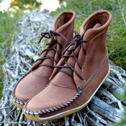 "Men's 8"" Chocolate Brown Boot with Canoe Sole"
