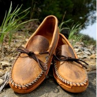 Men's Tan Distressed Plain Toe Canoe Sole