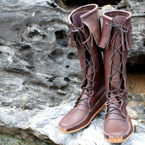 s knee high smooth grain leather boot with canoe sole