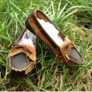 Women's Brown Distressed & Suede Canoe Sole With Fringe