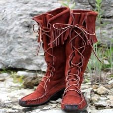Women's Suede Knee High With Bull Hide Canoe Sole