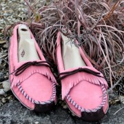 Womens Pink Suede W / Brown Canoe Sole